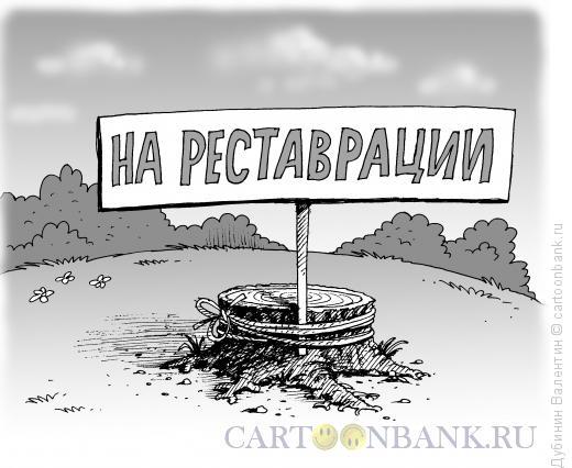 Карикатура: На реставрации, Дубинин Валентин