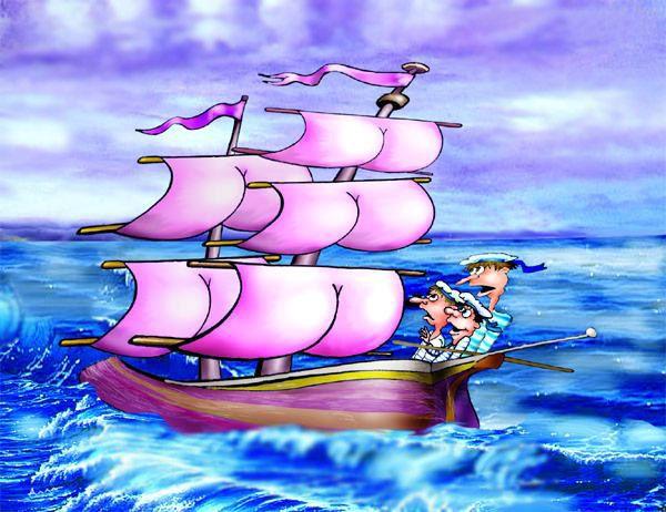 Карикатура: Попутный ветер, Алла Сердюкова