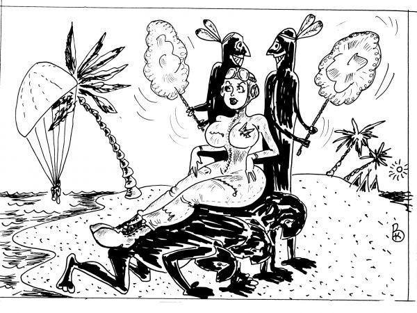 Карикатура: Живой трон, Валерий Каненков