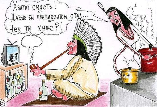 Карикатура: Мудрая жена, Валерий Каненков