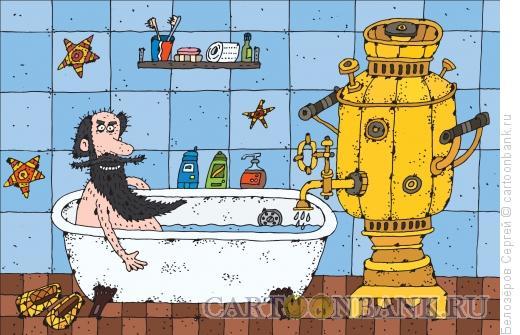 Карикатура: Отключение горячей воды, Белозёров Сергей