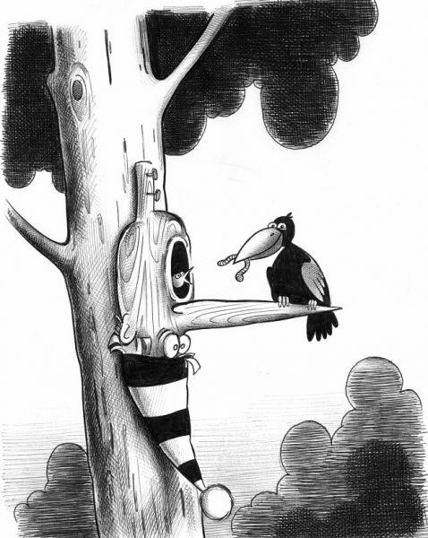 Карикатура: Папа Карло орнитолог, Сергей Корсун