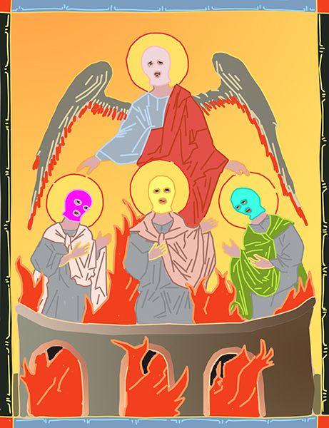 Карикатура: За отказ покланяться идолу, C1