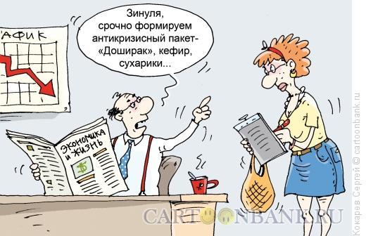 Карикатура: антикризисный пакет, Кокарев Сергей