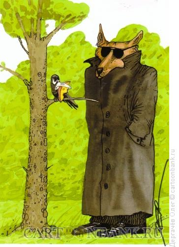 Карикатура: ворона и лисица, Дергачёв Олег
