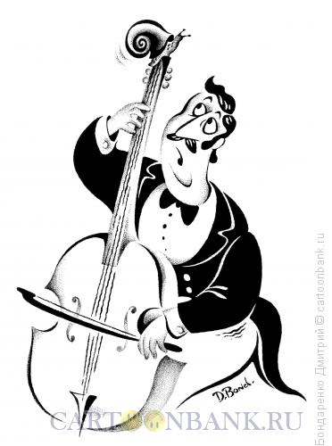Карикатура: Музыкант и улитка, Бондаренко Дмитрий