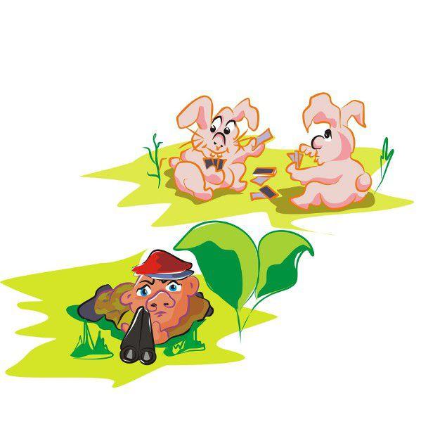 Карикатура: Охотник и зайцы.
