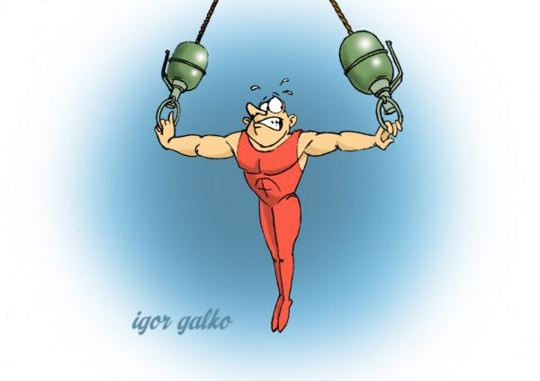 Карикатура: гимнаст