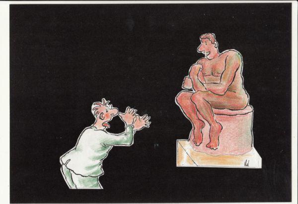 """Карикатура: """"Мыслитель"""" и чудак., Николай Кинчаров"""
