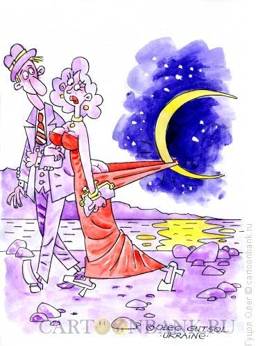 Карикатура: Прогулка под луной, Гуцол Олег