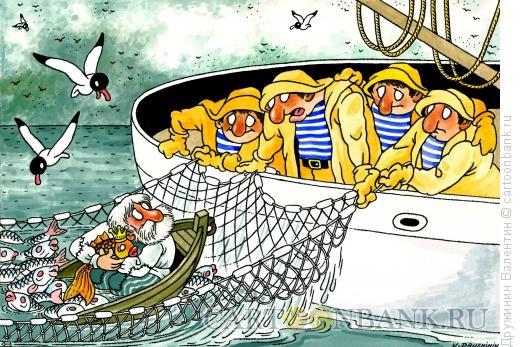 Карикатура: Попался в сети, Дружинин Валентин