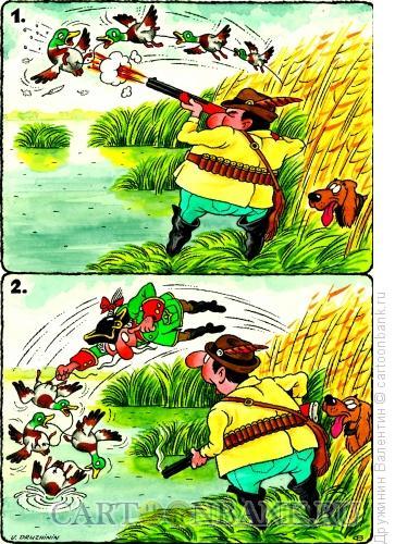 Карикатура: Охота на уток, Дружинин Валентин