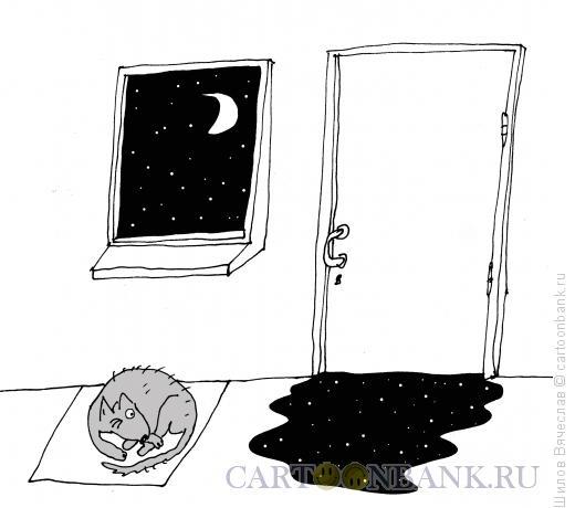 Карикатура: Собака и ночь, Шилов Вячеслав