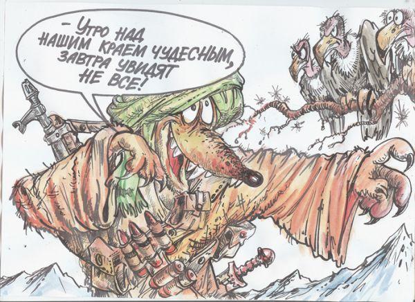 Карикатура: Снова на карабине дремлет лениво рука, Бауржан Избасаров