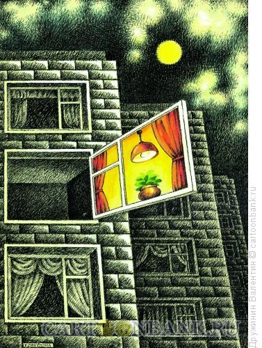 Карикатура: Окно, Дружинин Валентин