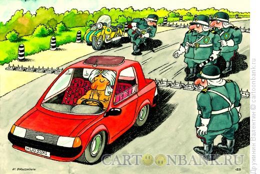 Карикатура: Йог в авто, Дружинин Валентин
