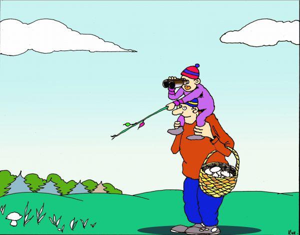 Карикатура: Папа,вижу гриб!, Николай Кинчаров