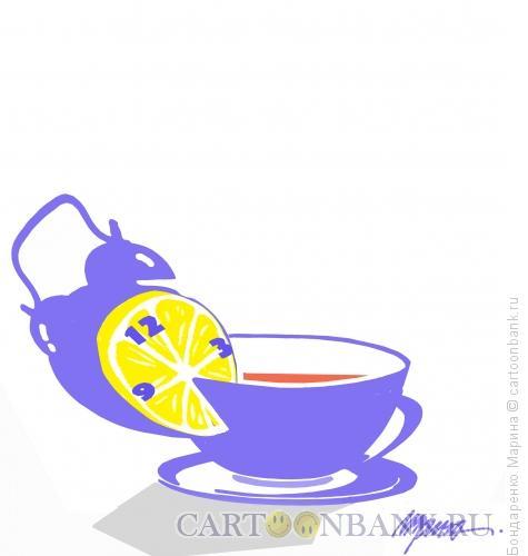 Карикатура: Чай с будильником, Бондаренко Марина