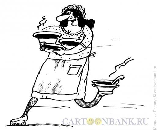 Карикатура: Официантка, Мельник Леонид