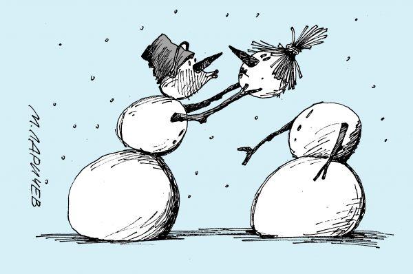Карикатура: поцелуй, михаил ларичев