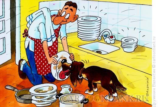 Карикатура: Мытье посуды, Дружинин Валентин