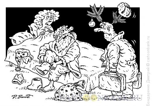 Карикатура: Новогодний рогоносец, Бондаренко Дмитрий