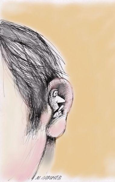 Карикатура: Тс-c-с..., Михаил ларичев