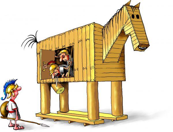 Карикатура: Троянский конь, Александр Ануфриев