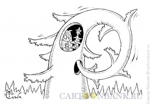 Карикатура: Новый год у совы, Смагин Максим