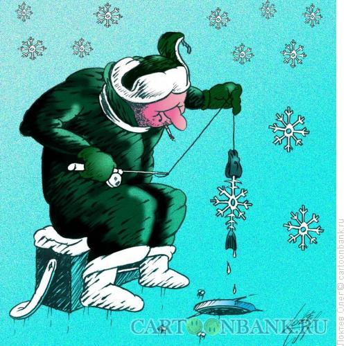 Карикатура: снежинка - скелет рыбы, Локтев Олег