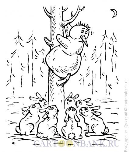 Карикатура: Снеговик и зайцы, Бондаренко Дмитрий