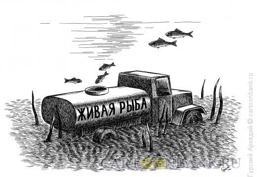 Карикатура: автомобиль-цистерна, Гурский Аркадий