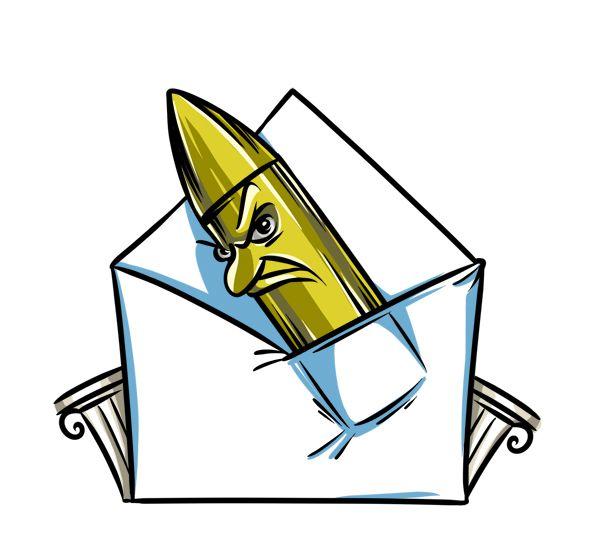 Карикатура: Политикам в Греции стали приходить письма с пулями как из автомата