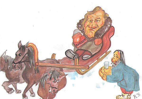 Карикатура: Депардье в России.