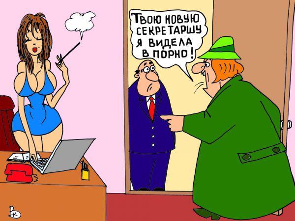 Карикатура: Внимательная жена, Валерий Каненков