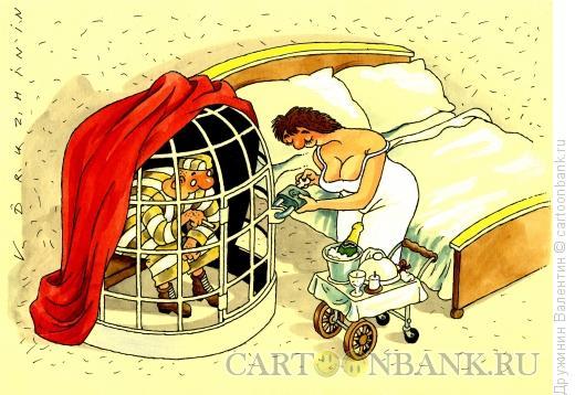 Карикатура: Мужик в клетке, Дружинин Валентин