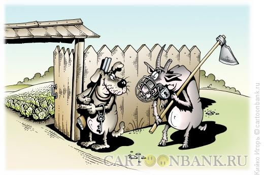 Карикатура: Козел в огороде, Кийко Игорь