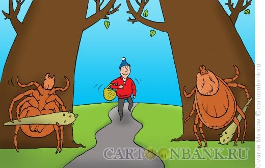 Карикатура: Осторожно, клещи!, Смагин Максим