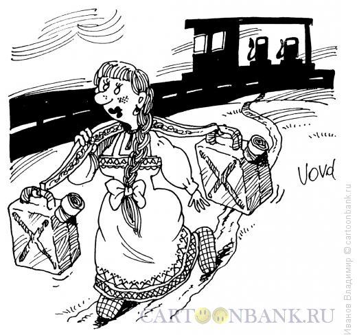 Карикатура: Современная барышня, Иванов Владимир