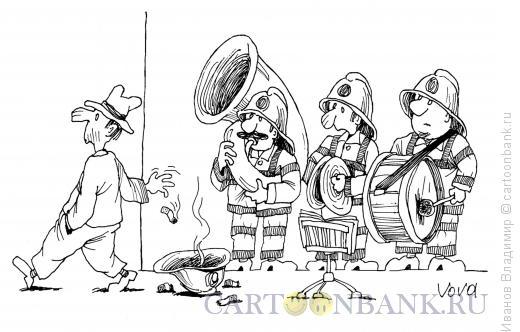 Карикатура: Оркестр пожарных, Иванов Владимир