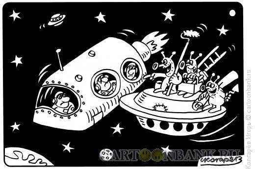 Карикатура: Космические работники, Колгарёв Игорь