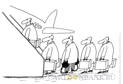 Карикатура: Ножные гири - багаж, Шилов Вячеслав