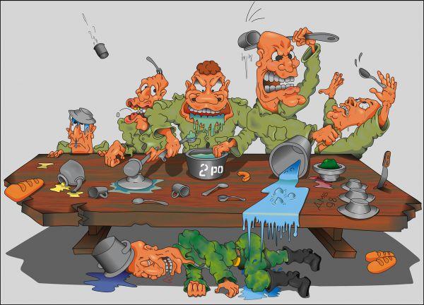 Карикатура: Битва за обед, Дмитрий Субочев