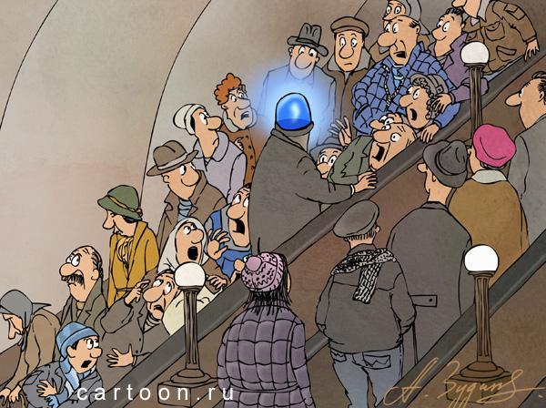 Карикатура: Синее ведерко, Зудин Александр
