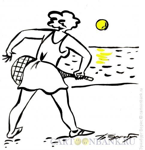 Карикатура: Утренний теннис, Эренбург Борис