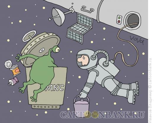 Карикатура: Космический мусор, Иванов Владимир