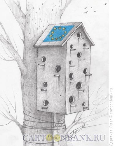 Карикатура: Европейский скворечник, Дергачёв Олег