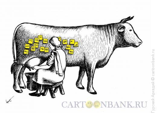 Карикатура: Доярка, Гурский Аркадий