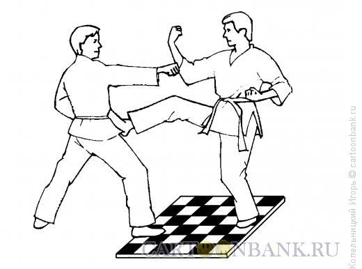 Карикатура: Карате и шахматы, Копельницкий Игорь