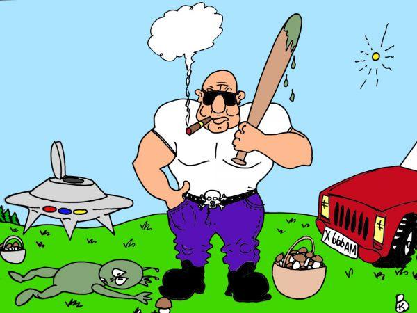 Карикатура: Спорный гриб, Валерий Каненков